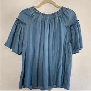 GAP BELLE SLEEVE BLUE BLOUSE SIZE SMALL